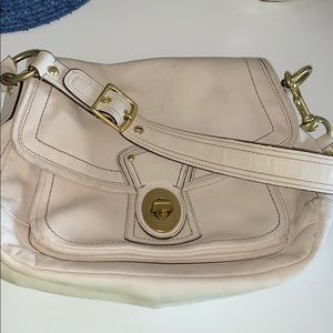 Coach genuine leather bag with brushed hardware